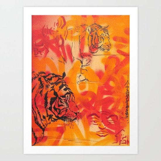 Double Tiger Medley Art Print