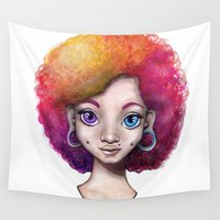 afro Wall Tapestries featuring girl afro  by Heather Rohrer