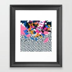Kenzi - abstract painting minimal hot pink blue dots color palette boho hipster decor nursery Framed Art Print