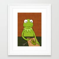 kermit Framed Art Prints featuring Kermit by Sylvie R.