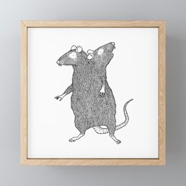 Two Headed Rat, I Love You Framed Mini Art Print