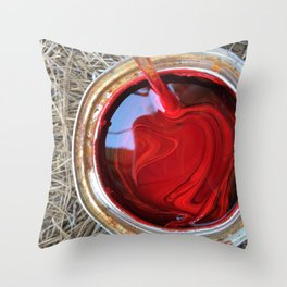 Red Paint Can on Straw Throw Pillow