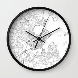 Portland Maine White Map Wall Clock