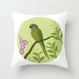 Peach-fronted Parakeet Throw Pillow