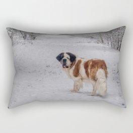 St Bernard dog in the snowy woods Rectangular Pillow