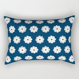 Aligned beige flowers on a dark blue Rectangular Pillow