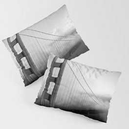 Golden Gate Bridge | Black and White San Francisco Landmark Photography Shot From Marin Headlands Pillow Sham
