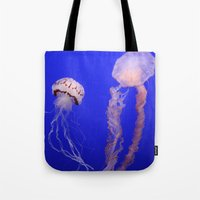 jelly fish Tote Bags featuring jelly fish by Bunny Noir