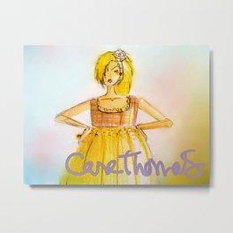 Golden Plaid Bodice Dress Metal Print