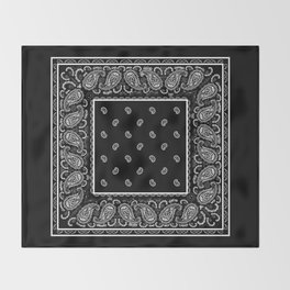 Classic Black Bandana Throw Blanket