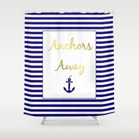 anchors Shower Curtains featuring Anchors Away by Laura Maria Designs