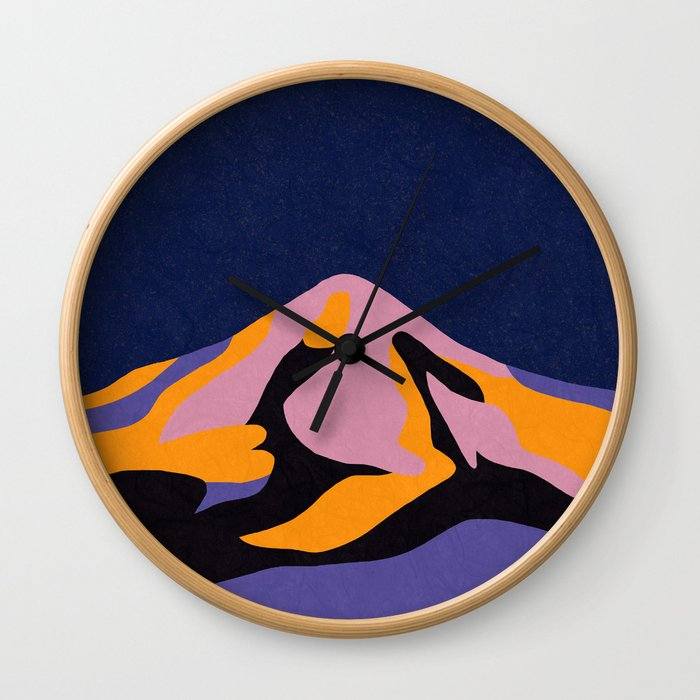 Over The Sunset Mountains II Wall Clock