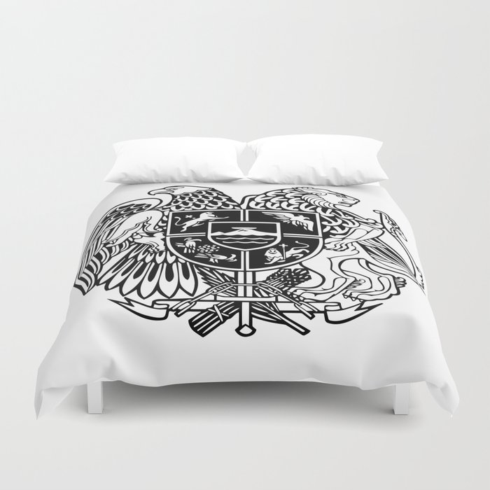 ARMENIAN COAT OF ARMS - Black Duvet Cover