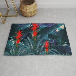 RED BROMELIAD FLOWERS & BLUE  JUNGLE LEAVES Rug