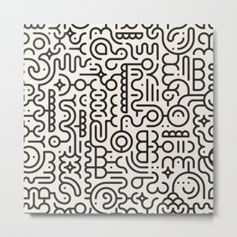 Black And White Line Art Geometric Doodle Pattern Abstract Background Metal Print