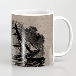 Vintage Sailing Ship - Antique Book Plate Etching - Retro Style Brown and Black Coffee Mug