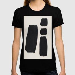 Mid Century Modern Minimalist Abstract Art Brush Strokes Black & White Ink Art Square Shapes T-shirt