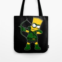 green arrow Tote Bags featuring Arrow by Betmac