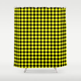 Classic Yellow Country Cottage Summer Buffalo Plaid Shower Curtain