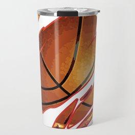 Basketball flames ball crack fire love gift Travel Mug