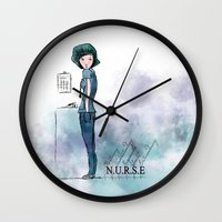 nurse Wall Clocks featuring Nurse  by Ginkelmier