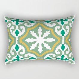 Moroccan Mosaic Tile Pattern Green Yellow Rectangular Pillow