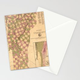Vintage Map of Vermont (1848) Stationery Cards