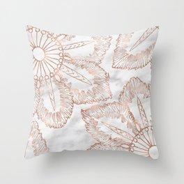 Mandala whimsy - rose gold & marble Throw Pillow