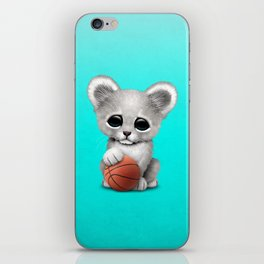 White Lion Cub Playing With Basketball iPhone Skin