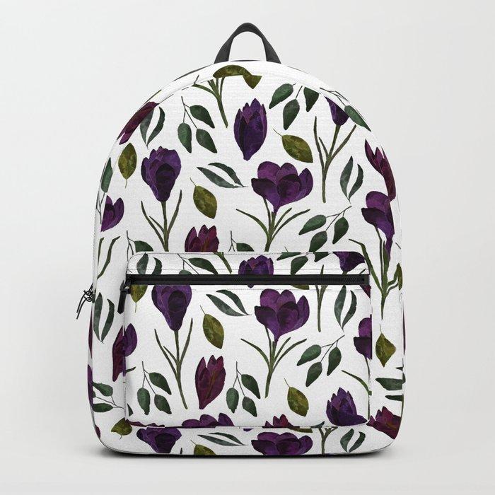 Plum Rose Pattern Backpack