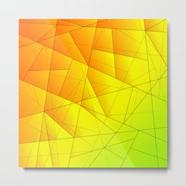 Bright summer pattern of yellow and green triangles and irregularly shaped lines. Metal Print