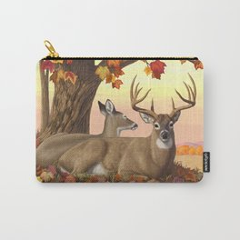 Whitetail Deer Doe & Trophy Buck Maple Trees Fall Colors Carry-All Pouch