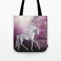 unicorn in a roses garden Tote Bag
