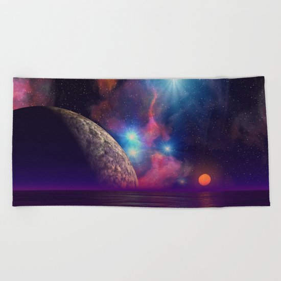 Stars and planets Beach Towel