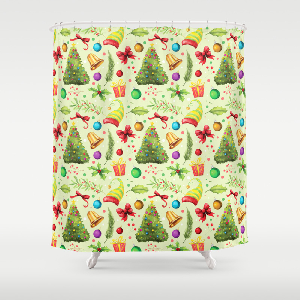Vintage Green Red Colorful Festive Merry Christmas… Shower Curtain by Pink_water CTN7632885