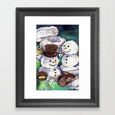 Mouse making snowman Framed Art Print