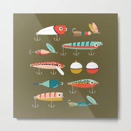 Fishing Lures Green Metal Print