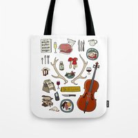 hannibal Tote Bags featuring Hannibal by Shanti Draws