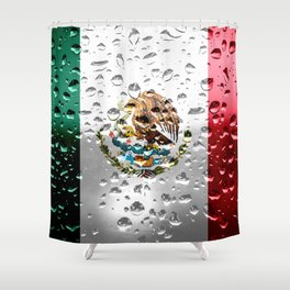 Flag of Mexico - Raindrops Shower Curtain