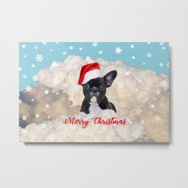 French Bulldog Santa Claus - Clouds Winter Snowflakes Metal Print