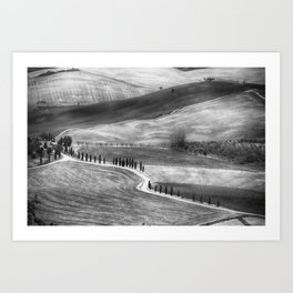 Country Road in Val D'Orcia, Tuscany, Italy Art Print