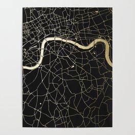 London Black on Gold Street Map Poster