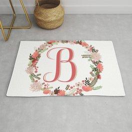 Personal monogram letter 'B' flower wreath Rug