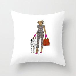 Lady Staffy Throw Pillow