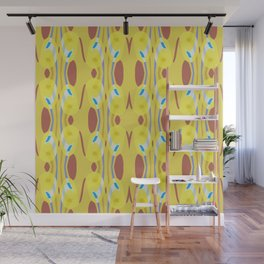 Colorful Yellow Red Blue White Pattern Wall Mural