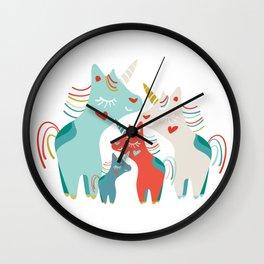 Sweet Rainbow Unicorn Family Wall Clock