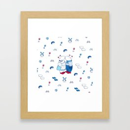 Adorable Dutch hippos in Delft blue style Framed Art Print