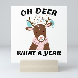 Funny Quarantine Christmas Xmas 2020 Deer Wearing Mini Art Print