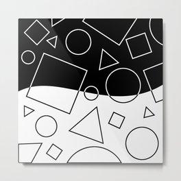 Black and White Geometric Shapes Wave Metal Print