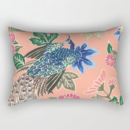 Peacock Floral in Coral Rectangular Pillow